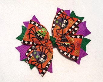 Halloween Spiders Hair Bow - 5 inch Stacked Boutique Pinwheel Bow on Partially Lined Clip - Happy Halloween! Purple Green Orange Black