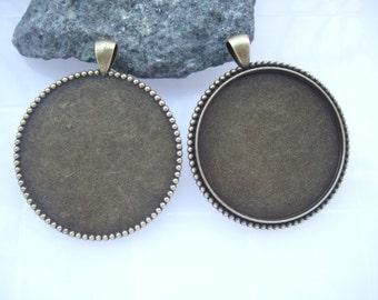 5pcs Antique Bronze Round Blanks Tray Settings Pendant Bezel for 40mm Cabochon DT284