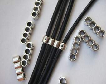 10 Antique Silver Four Strands Hole Cord Separators , Sliders For Up To 3mm Leather Cord SP288