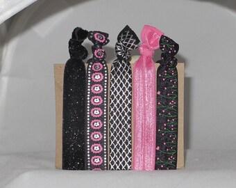 Set of 5 DARK FLORALS hair tie set