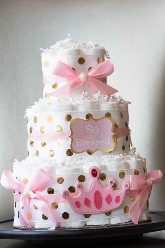 to pink and gold baby shower princess diaper cake unique diaper cake