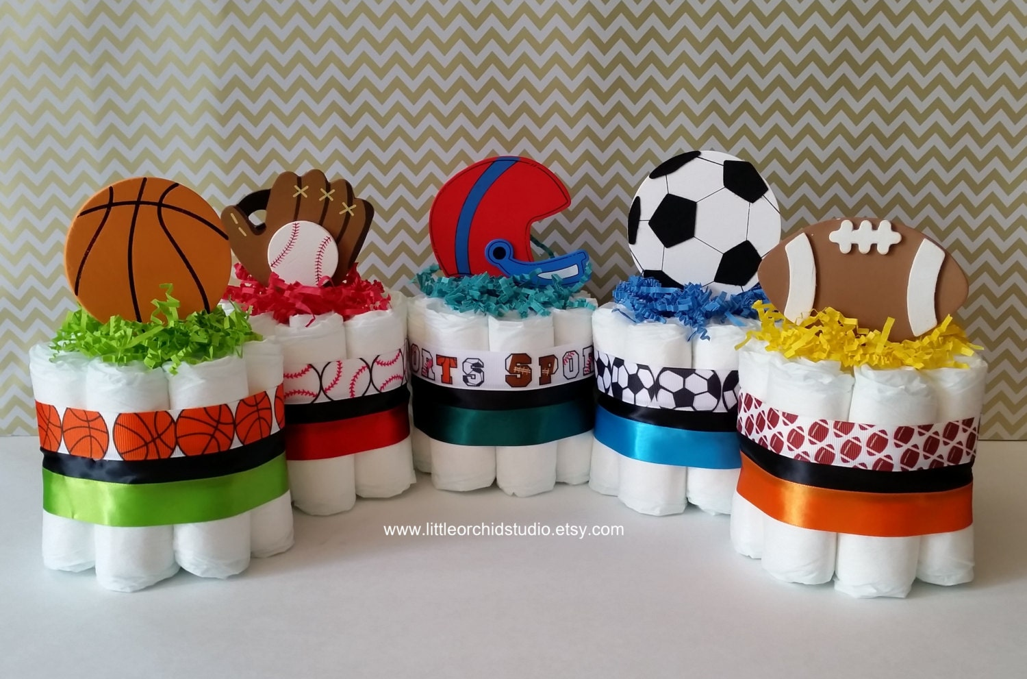 Set of 5 Mini Sports Diaper Cake/ Boys by LittleOrchidStudio