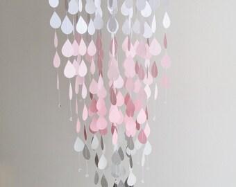 Pink Rain Mobile - Handmade Mobile,Home Decor,Raindrop Mobile,Pink and Grey Mobile,nursery mobile,baby mobile,hanging mobile