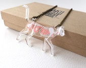 Skeleton X-Ray Cat on Clear Acrylic Necklace