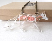 Skeleton X-Ray Fox on Clear Acrylic Necklace