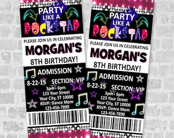 Printed Rockstar Birthday Party Ticket Invitation, Party Like A Rockstar Custom Rock Star Glow Party Ticket Invites