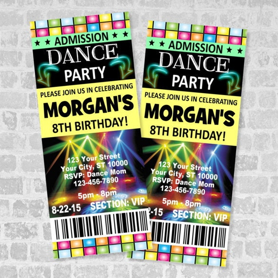 ticket dance party invitation custom boy or girl dance birthday