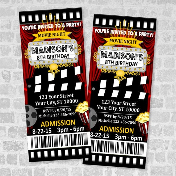Printed Movie Ticket Birthday Party Invitation Custom Movie Night – Party Ticket Invitations