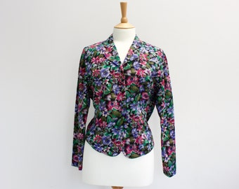 Vintage Purple and Green's Floral Blouse
