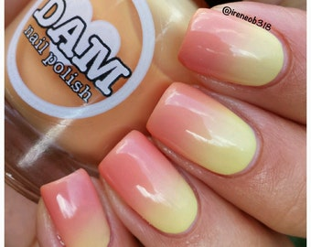 Thermal Nail Polish - Orange Polish - Yellow Polish - Bright Nail Polish - Birthday Gift - Mother's Day - Citrus Sherbert