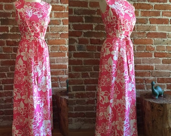 1970's Vintage/Retro Belted Floral Maxi Dress, Hippie/BOHO, Size 10