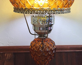 Vintage quilted glass lamp etsy amber fenton student lamp quilted glass beaded shade vintage aloadofball Gallery