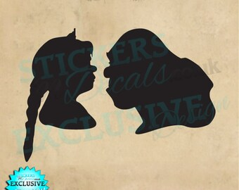 Dreamworks Shrek & Princess Fiona Silhouette Vinyl Wall Art Wall Decal Sticker Window Decal Wall Decor Art Ogre Donkey Love Princess