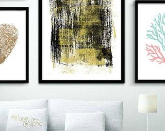 Black And Gold Wall Art gold painting   etsy