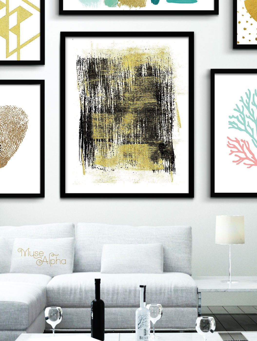 Gold wall decor black and gold print gold printable gold for Gold wall art