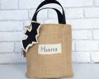 Personalized Halloween bag and badge. Mini trick or treat bag. Halloween treat bag. Halloween tote bag. Halloween basket. Bat bag