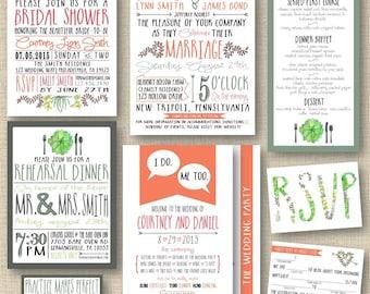 Printable DIY Modern Rustic FULL Collection Custom Wedding Stationary Templates (with BONUS)