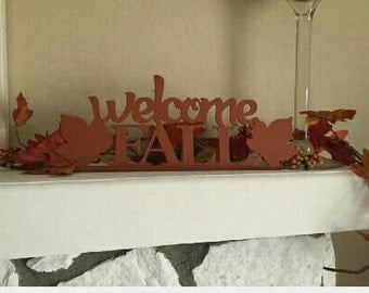 Welcome Fall sign, Fall Decoration, Metal wall Art