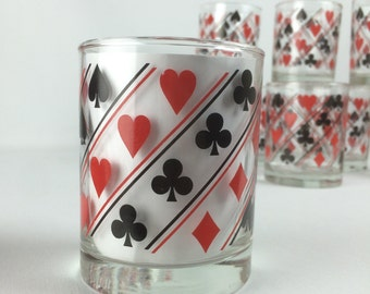 Set of 10 Poker Game Night Drinking Bar Ware Tumbler Glasses
