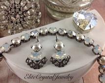 Pearly Delight Swarovski Earrings,Soft Romantic Vintage Inspire,Everyday Wearable,Genuine Swarovski Pearls,Navette Opals,BreathTaking!Classy