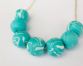OOAK beaded necklace in fimo/mix colour/black and blue/silver chain