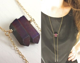 Long Bolo Necklace, Long Gold Filled Chain, Long Y Necklace, Minimal Necklace, Ladder Necklace, Long Thin Chain, Purple Crystal Point