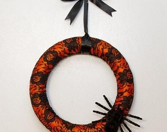 Orange Halloween Ribbon and Lace Wreath