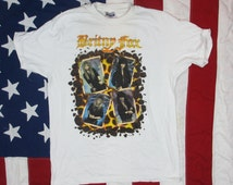 "Vintage Deadstock 1990 Britny Fox ""Boys in Heat"" World Tour T-Shirt Medium/Large/XL Hanes Soft and Thin Tesla Poison Cinderella Hair Metal"