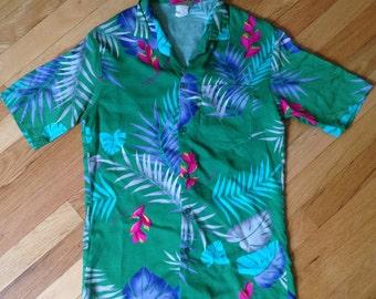 90's Fast Break Hawaiian Shirt - Made in the USA - Small