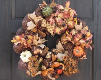 Fall Mesh Wreath for Front Door, Wreath for Thanksgiving, Wreath for Fall, Autumn Door Wreath, Thanksgiving Wreath, Thanksgiving Door Decor