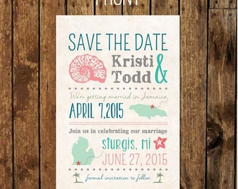 DIY Custom Save The Date Postcard After Destination Wedding At Home Reception