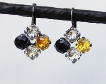 Steelers, Pirates, and Penguins -  Black and Yellow Quad Swarovski Crystal Earrings - Antique Silver, Shiny Silver, and Black Finishes