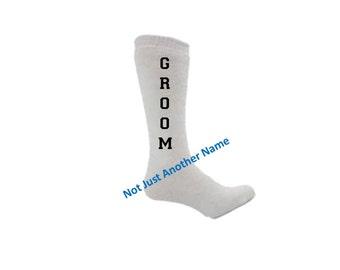 Groom Tube Socks, Engagement Party Gift, Bachelor Party Gift Idea, Grooms Socks, Groomsman Gift, Father of the Bride Socks
