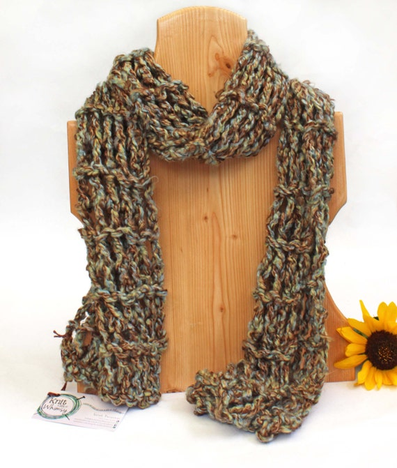 Hand knitted scarf chunky handmade knit with bulky