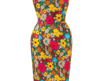 Sarah-P vintage style 1940's 1950's hourglass retro wiggle pencil party dress in cotton