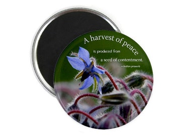 """Blue Star Flower  with inspirational quote, 2 1/4"""" Round Magnet"""