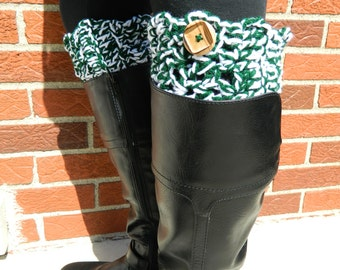 Michigan State Boot Cuffs - Crochet Boot Toppers - Team Boot Cuffs - Spartan Boot Cuffs - Fast Shipping