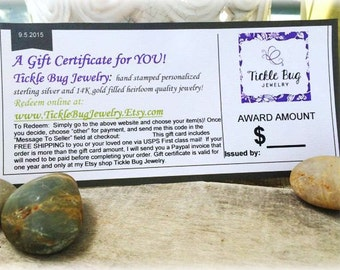 Tickle Bug Jewelry Gift Certificate: 25.00