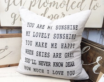 You Are My Sunshine Pillow Cover