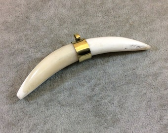 """3.5"""" White/Ivory Thick Banana Crescent Shaped Natural Ox Bone Pendant with Plain Gold Plated Bail - Measuring 90mm x 17mm - (TR35WHBNC)"""