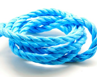 Lot of 2 meters of rope nylon 3 strands Blue 10 mm