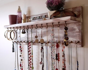 Necklace holder with shelf. Earrings display. wall mounted necklace storage. Jewelry display. distressed white. Earrings holder.