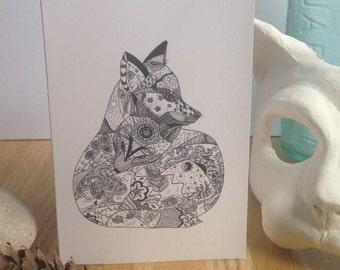 Fox ink giclee greetings card