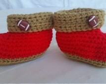49er booties,football booties,sports booties,red boy booties,crochet baby slippers,boy baby slippers,toddler slippers,crochet red baby shoes