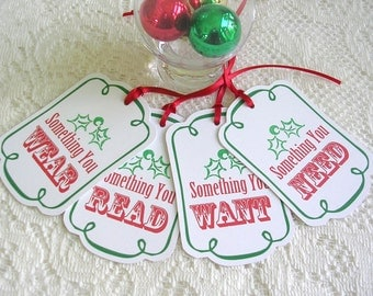Christmas Tags - Something You Want, Wear, Read, Need Christmas Gift Tags - Set of 8 Holiday Tags