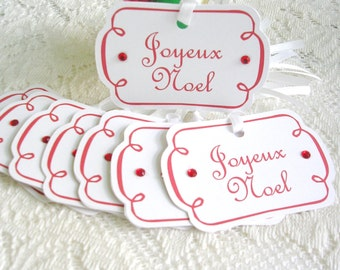 Christmas Tags - Joyeux Noel French Christmas Gift Tags - Set of 8 Rhinestone Accent Holiday Tags