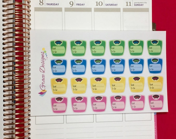 Weight Scale Stickers Motivational Weight Tracker Planner Stickers, fits Erin Condren, Kiki K, Plum Paper, Filofax, Inkwell, Limelife