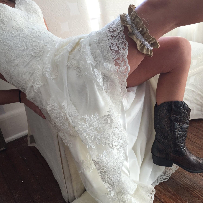 Country Wedding Garters: Rustic Burlap Wedding Garter