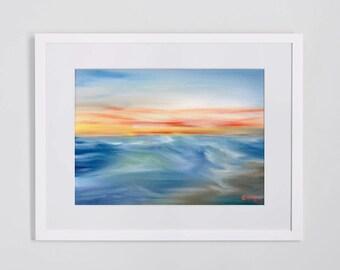 Sunset at Sea - Original Oil Painting Art 16'' x 12'' on Canvas Board (Sea, Ocean, Sunset, Waves)