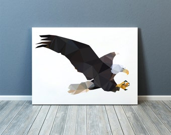 Geometric decor Bird of prey print Wall art Bald eagle poster TOA78